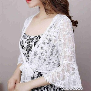 Speaker Sleeves Summer Thin Fabric Cardigan - White