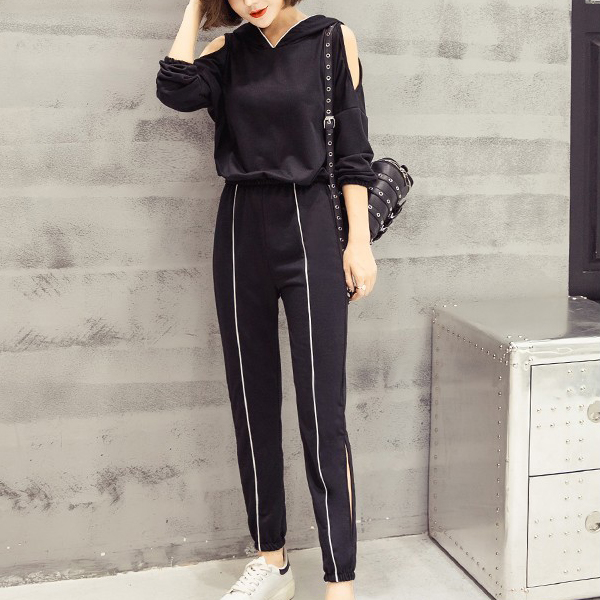 Hoodie Split Decorative Two Pieces Sports Suit - Black