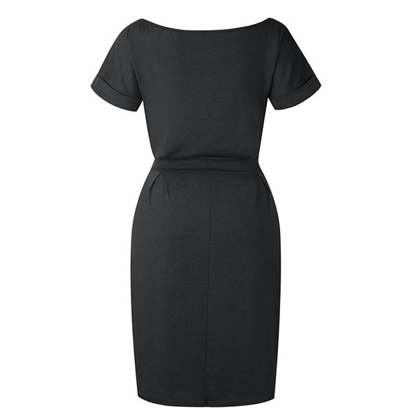Boat Neck Short Sleeved Mini Dress - Black