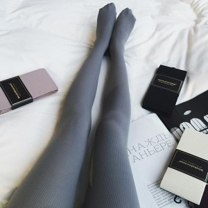 Slim Stretch Leggings Tights Skinny Socks Pair - Gray