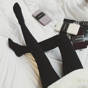 Slim Stretch Leggings Tights Skinny Socks Pair - Black