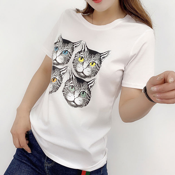Cat Prints Round Neck Casual T-Shirt - White