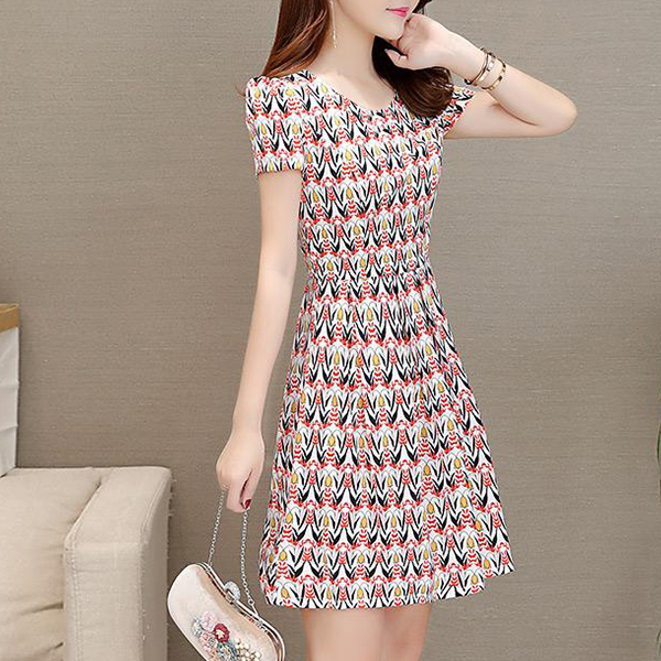 Colourful Prints Round Neck Mini Summer Dress - Red