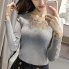Hearts Texture Lace Ribbed Long Sleeves T-Shirt - Grey