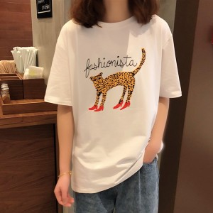 Cartoon Prints Round Neck Loose T-Shirt - White