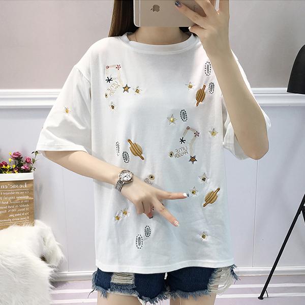 Thread Art Round Neck Summer Wear T-Shirt - White