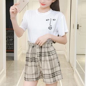 Face Prints Round Neck Summer T-Shirt With Bottom - White