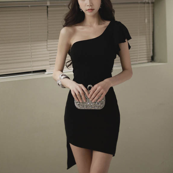 One Shoulder Party Wear Flared Mini Dress - Black