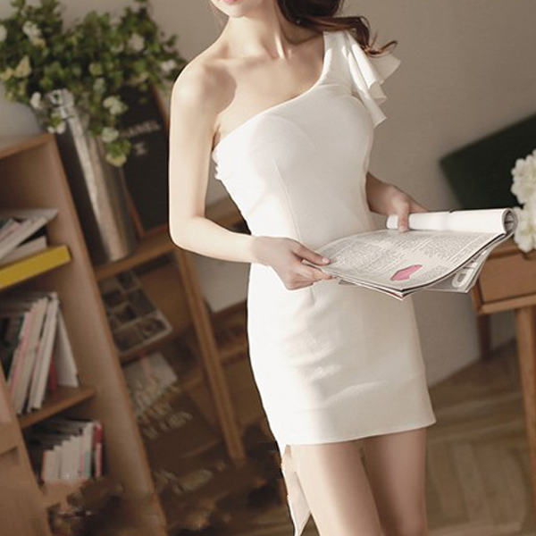 One Shoulder Party Wear Flared Mini Dress - White