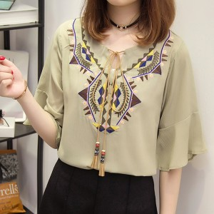 Knotted Neck Tassel Bohemian Thread Art Blouse Top