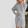 V-Neck Winter Wrapped Mini Dress - Gray