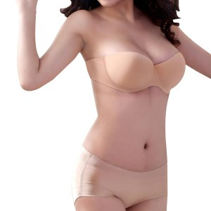 Silicone Push Up Seamless Invisible Strapless Bra Beige