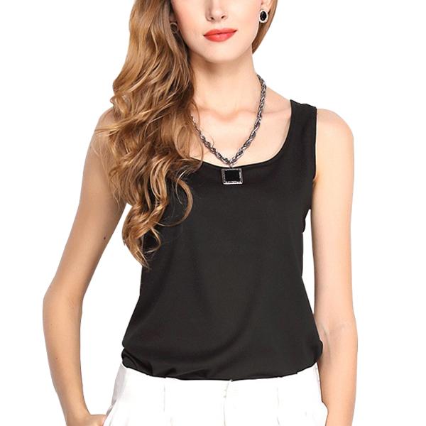 Dream Fashion Tops Women O-Neck Casual Tank T-Shirt Black