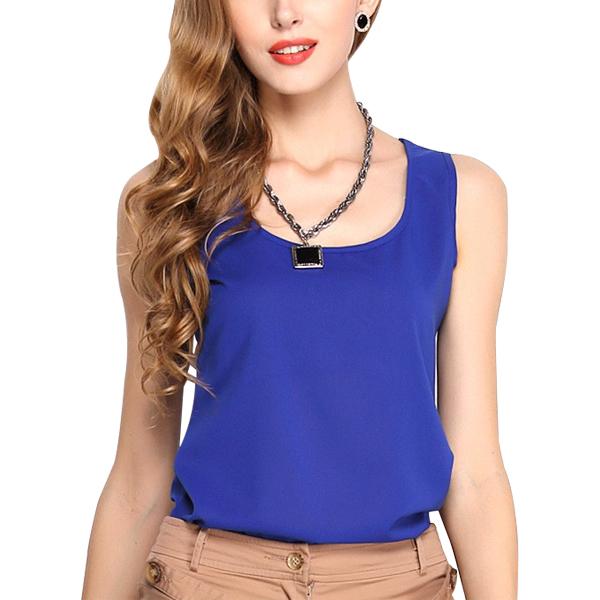 Dream Fashion Tops Women O-Neck Casual Tank T-Shirt Blue