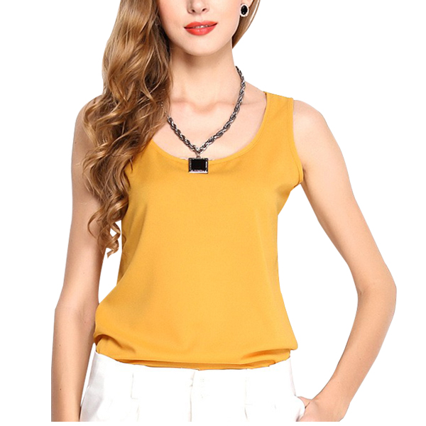 Dream Fashion Tops Women O-Neck Casual Tank T-Shirt Golden
