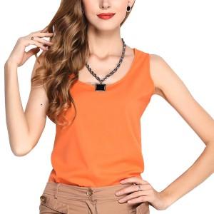 Dream Fashion Tops Women O-Neck Casual Tank T-Shirt Orange
