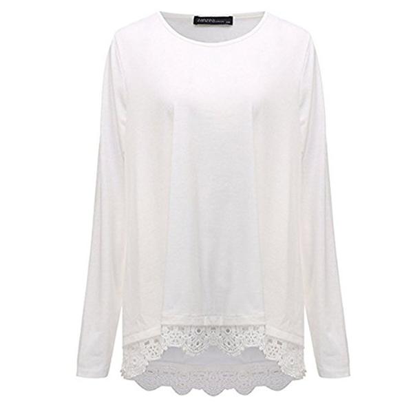 Lace Decoration Hem Loose White Top