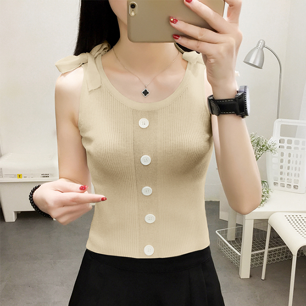 Lining Sleeveless Summer Wear Blouse Top - Khaki