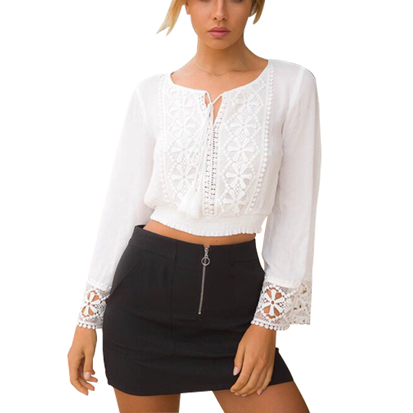 White Lace Crochet Long Sleeve Chic Chiffon Cropped Blouse