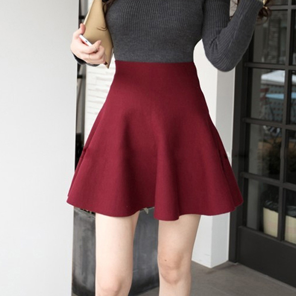 Formal Wear Pleated Mini Length Skirt - Red