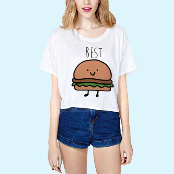 Burger Printed White Mini T-Shirt