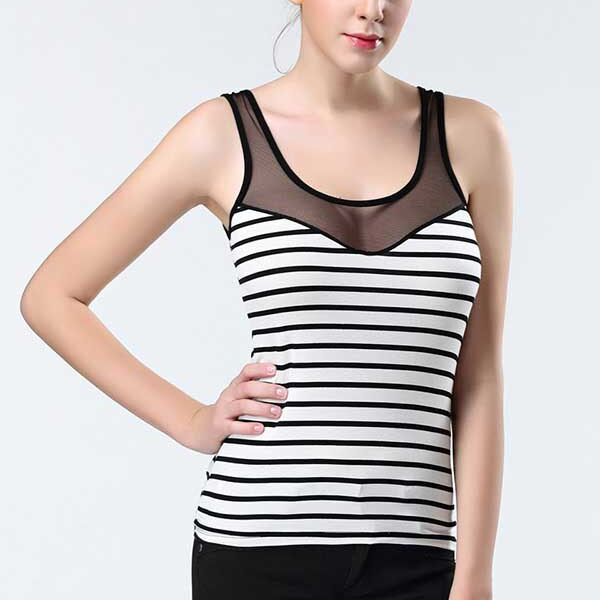 Stripes Print Summer Wear Camisole Top - White