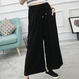 Elastic Waist String Belt Loose Trousers - Black