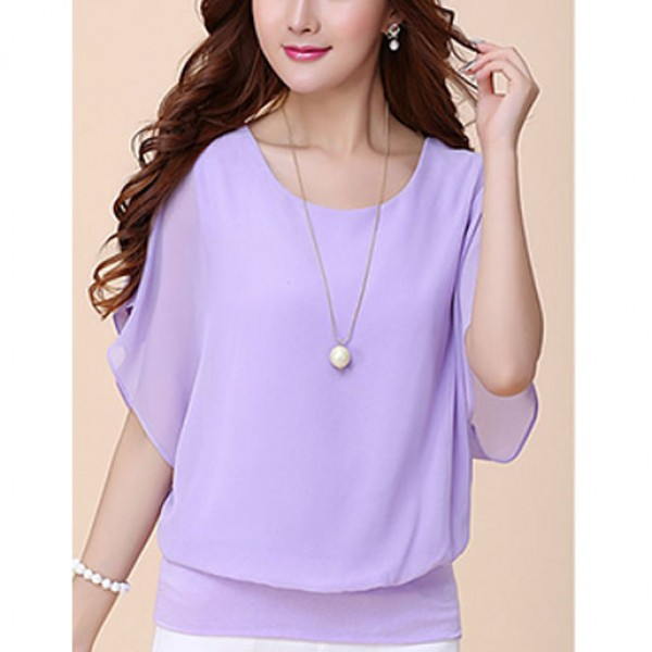 Regular Loose T Shirt Blouse For Women Purple