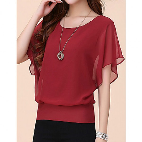 Regular Loose T-Shirt Blouse For Women Red