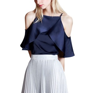 Sexy Ruffle Chiffon Off Shoulder Women Dress Blue