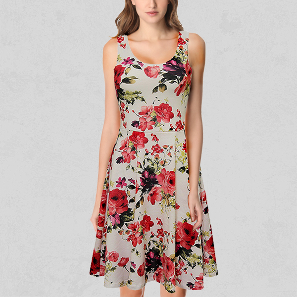Colorful Prints Round Neck A-line Dress - Rose