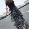 Floral Skirt With T-Shirt Two Pieces Suit - Black