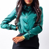Long Sleeve Button Closure Solid Formal Women Shirt - Green