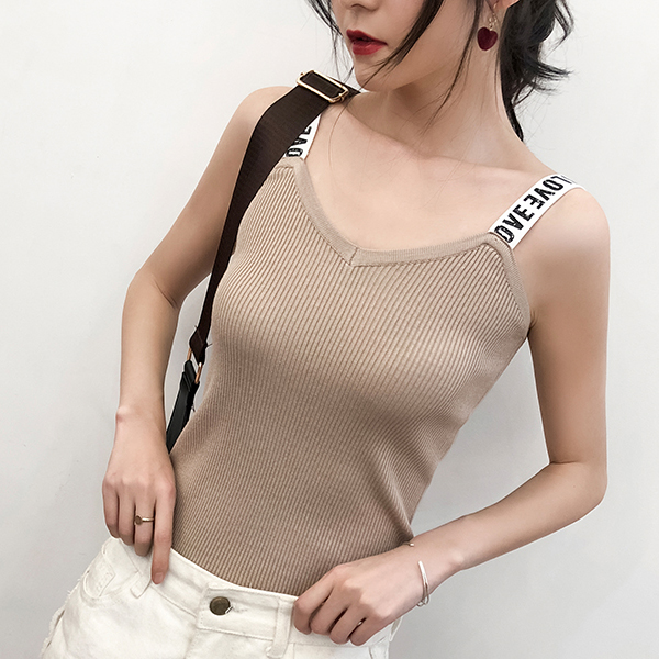 Strap Shoulder Ribbed Sleeveless Blouse Top - Cream White