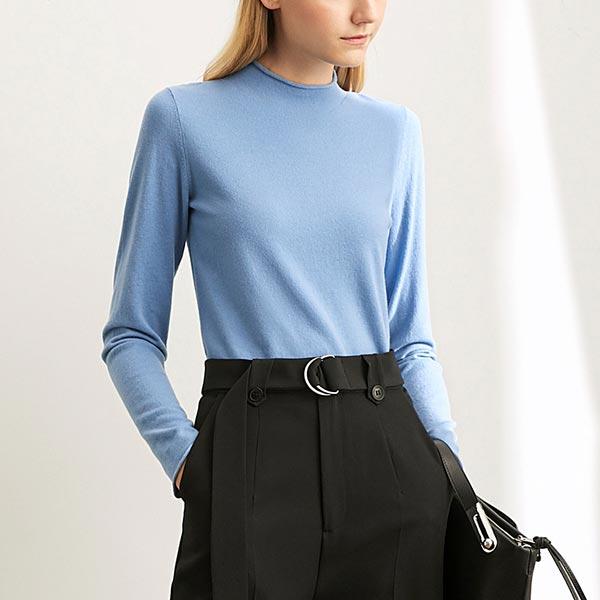 Half Turtleneck Women Hedging Long Sleeve Sweater - Blue