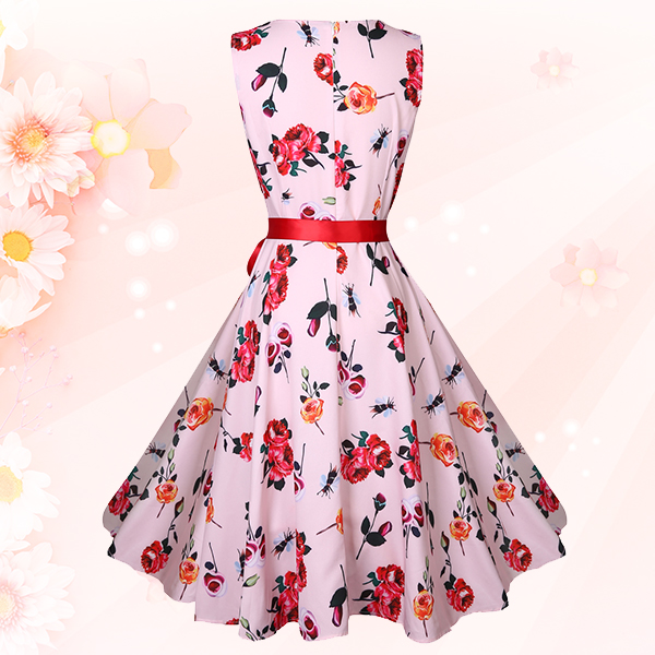 Printed Waist Knotted A-Line Dress - Rose