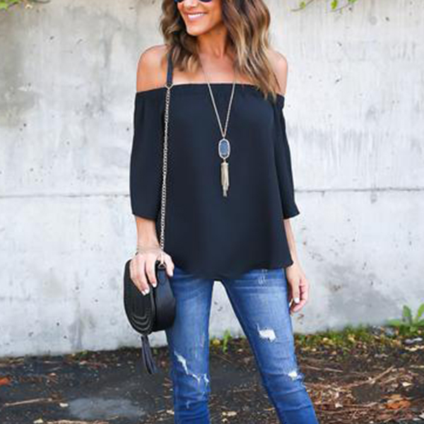 Elegant Off Shoulder Evening Black Top For Women
