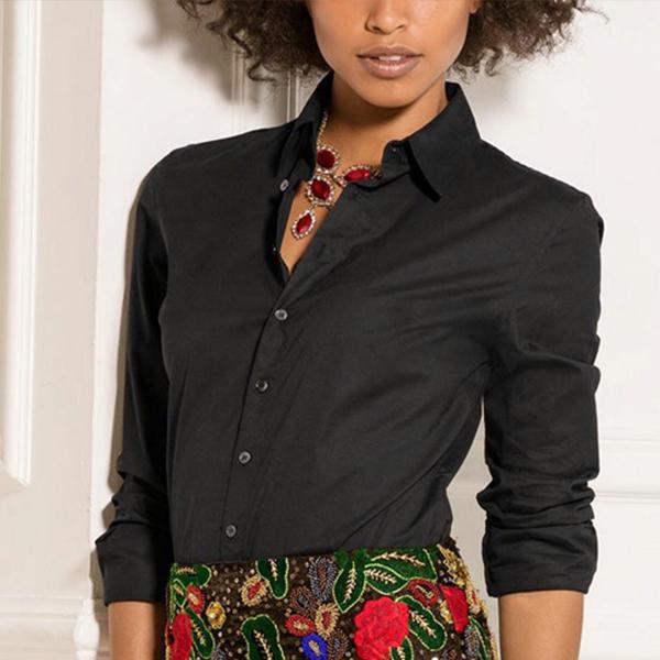 Simple Black Long Sleeved Formal Collar Shirt