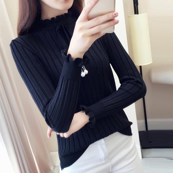 Half High Collar Lace Slim Shirt Long Sleeves Tops - Black