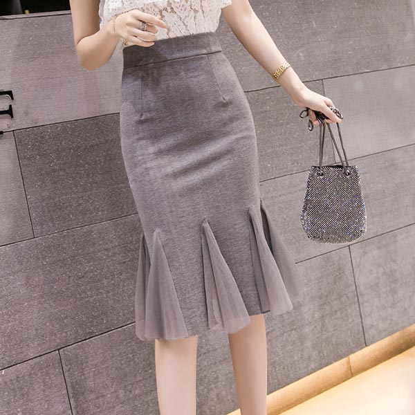 Mid Length Solid Pattern Skirts - Grey