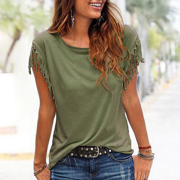 Boat Neck Elegant Tassel Sleeved Green T-Shirt
