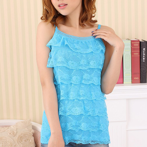 Ruffle Layered Strap Shoulder Summer Blouse - Sky Blue