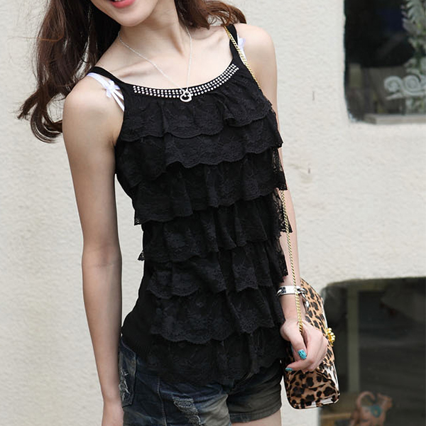 Ribbed Sleeveless Casual Wear Summer Blouse Top - Black
