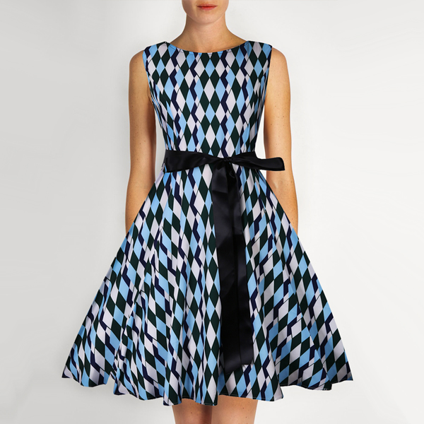 Multi Prints Waist Knotted A-Line Dress