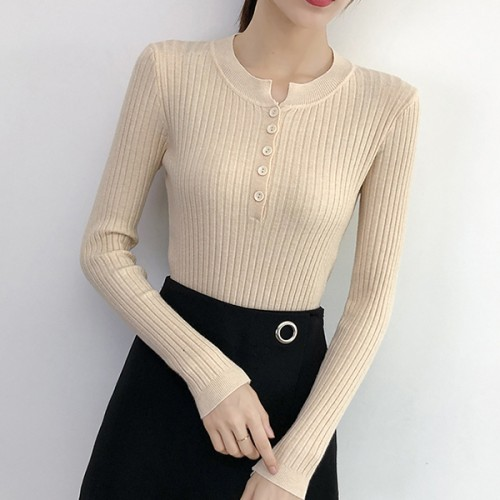 Beautiful Furnished Round Neckline Top - Apricot