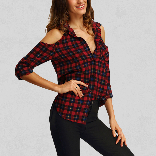 Casual Red Check Cold Shoulder Shirt