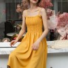 Elastic Bust Midi Dress With Outwear Shirt - Yellow