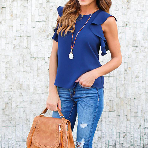 Ruffled Sleeveless Round Neck Party Top