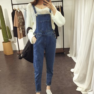 Denim Pocket Style Narrow Bottom Bib Trousers
