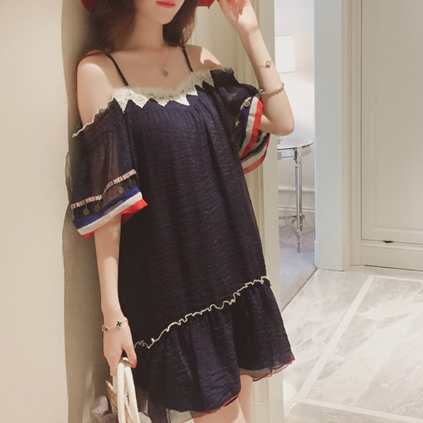 Cold Shoulder Chiffon Casual Beach Dress - Dark Blue